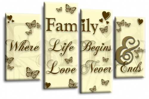 Family Quote Canvas Wall Art Picture Print Cream Brown Gold